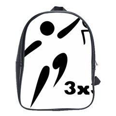3 On 3 Basketball Pictogram School Bags(large)  by abbeyz71