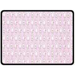 Rabbit Pink Animals Double Sided Fleece Blanket (large)