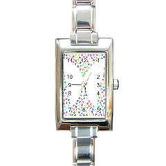Prismatic Negative Space Butterflies Rectangle Italian Charm Watch