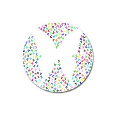 Prismatic Negative Space Butterflies Magnet 3  (round)