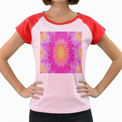 Round Bright Pink Flower Floral Women s Cap Sleeve T Shirt by AnjaniArt