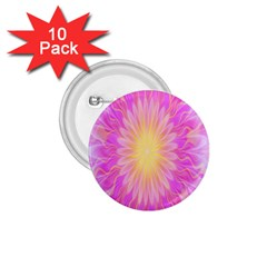 Round Bright Pink Flower Floral 1 75  Buttons (10 Pack)