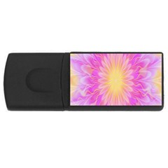 Round Bright Pink Flower Floral Usb Flash Drive Rectangular (4 Gb) by AnjaniArt