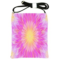 Round Bright Pink Flower Floral Shoulder Sling Bags by AnjaniArt