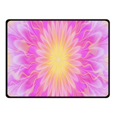 Round Bright Pink Flower Floral Fleece Blanket (small) by AnjaniArt