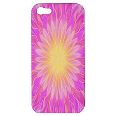 Round Bright Pink Flower Floral Apple Iphone 5 Hardshell Case by AnjaniArt