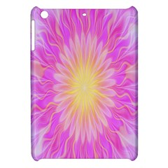 Round Bright Pink Flower Floral Apple Ipad Mini Hardshell Case by AnjaniArt