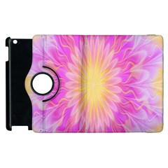 Round Bright Pink Flower Floral Apple Ipad 2 Flip 360 Case by AnjaniArt