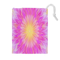 Round Bright Pink Flower Floral Drawstring Pouches (extra Large) by AnjaniArt