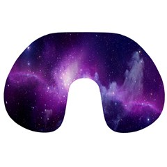 Galaxy Space Purple Travel Neck Pillows by AnjaniArt