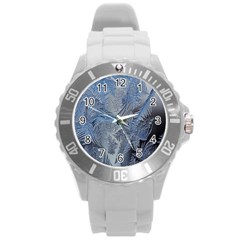 Frost Leafe Round Plastic Sport Watch (l) by AnjaniArt