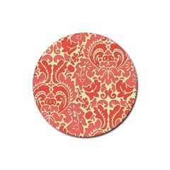 Red Floral Rubber Round Coaster (4 Pack)
