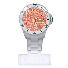 Red Floral Plastic Nurses Watch
