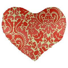 Red Floral Large 19  Premium Flano Heart Shape Cushions by AnjaniArt