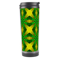 Background Colour Circle Yellow Green Travel Tumbler by AnjaniArt