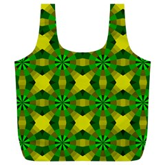 Background Colour Circle Yellow Green Full Print Recycle Bags (l)