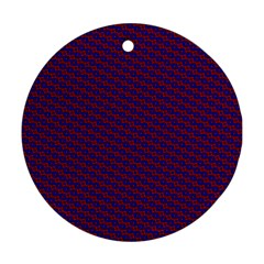 Chain Blue Red Woven Fabric Ornament (round)