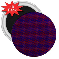 Chain Blue Red Woven Fabric 3  Magnets (10 Pack)