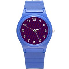 Chain Blue Red Woven Fabric Round Plastic Sport Watch (s) by AnjaniArt