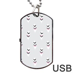 Bird Feathers Purple Gray Dog Tag Usb Flash (two Sides)