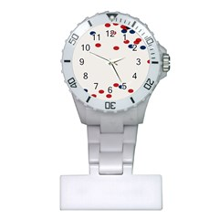 Circle Red Blue Plastic Nurses Watch by AnjaniArt