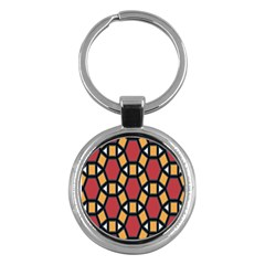 Circle Ball Red Yellow Key Chains (round)  by AnjaniArt