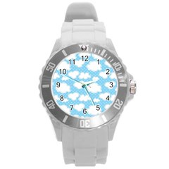 Cloud Blue Sky Round Plastic Sport Watch (l) by AnjaniArt