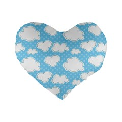 Cloud Blue Sky Standard 16  Premium Heart Shape Cushions by AnjaniArt