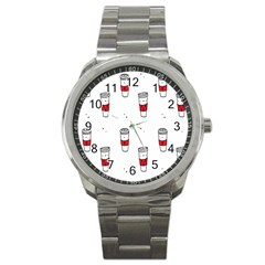 Coffee Cup Glass Sport Metal Watch