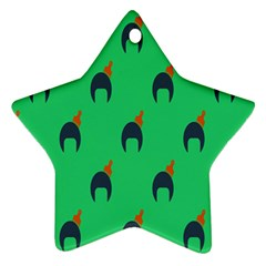 Comb Disco Green Star Ornament (two Sides) by AnjaniArt