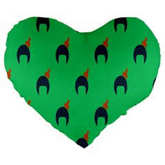 Comb Disco Green Large 19  Premium Heart Shape Cushions