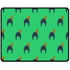 Comb Disco Green Double Sided Fleece Blanket (medium)  by AnjaniArt