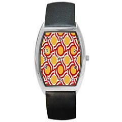 Circle Orange Red Barrel Style Metal Watch by AnjaniArt