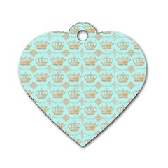 Crown King Paris Dog Tag Heart (one Side)