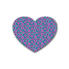 Clipart Floral Pattern Flower Purple Green Rubber Coaster (heart)