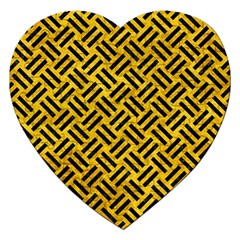 Woven2 Black Marble & Yellow Marble (r) Jigsaw Puzzle (heart) by trendistuff
