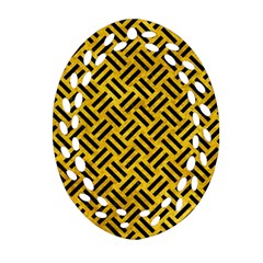 Woven2 Black Marble & Yellow Marble (r) Ornament (oval Filigree) by trendistuff