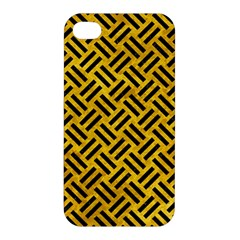 Woven2 Black Marble & Yellow Marble (r) Apple Iphone 4/4s Hardshell Case by trendistuff
