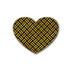 Woven2 Black Marble & Yellow Marble Rubber Heart Coaster (4 Pack) by trendistuff