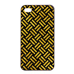 Woven2 Black Marble & Yellow Marble Apple Iphone 4/4s Seamless Case (black) by trendistuff