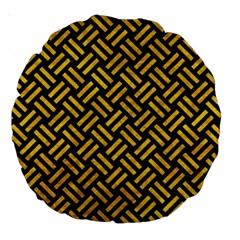 Woven2 Black Marble & Yellow Marble Large 18  Premium Round Cushion