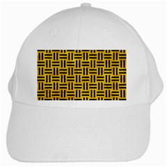 Woven1 Black Marble & Yellow Marble (r) White Cap by trendistuff