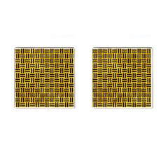 Woven1 Black Marble & Yellow Marble (r) Cufflinks (square) by trendistuff