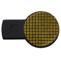 Woven1 Black Marble & Yellow Marble Usb Flash Drive Round (4 Gb) by trendistuff