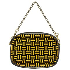 Woven1 Black Marble & Yellow Marble Chain Purse (one Side) by trendistuff