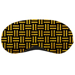 Woven1 Black Marble & Yellow Marble Sleeping Mask by trendistuff
