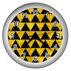 Triangle2 Black Marble & Yellow Marble Wall Clock (silver) by trendistuff