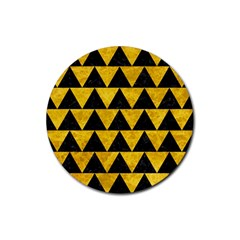 Triangle2 Black Marble & Yellow Marble Rubber Coaster (round)