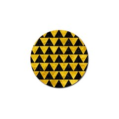 Triangle2 Black Marble & Yellow Marble Golf Ball Marker by trendistuff