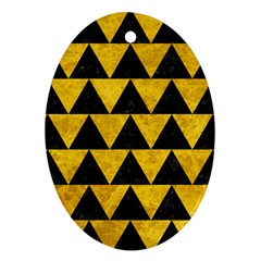 Triangle2 Black Marble & Yellow Marble Oval Ornament (two Sides) by trendistuff